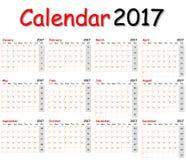 Calendário 2017 Fotos de Stock