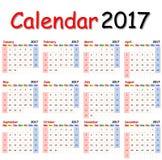 Calendário 2017 Foto de Stock Royalty Free