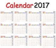 Calendário 2017 Fotografia de Stock