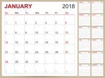 Calendário 2018 Imagem de Stock Royalty Free
