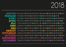Calendário 2018 Imagens de Stock
