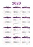 Calendário 2020 Imagens de Stock Royalty Free