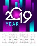 Calendário abstrato 2019 anos Fotografia de Stock
