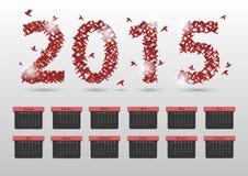 Calendário abstrato do origâmi 2015 anos molde da bandeira Vetor Imagens de Stock