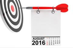 Calendário agosto de 2016 com alvo rendição 3d Fotos de Stock Royalty Free