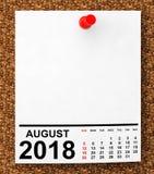 Calendário agosto de 2018 rendição 3d ilustração royalty free