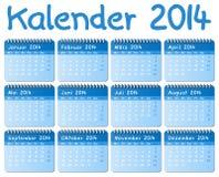 Calendário alemão 2014 Fotografia de Stock Royalty Free