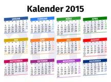 Calendário alemão 2015 Fotografia de Stock