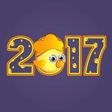Calendário amarelo 2017 do símbolo do galo da figura Imagens de Stock Royalty Free