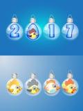 Calendário amarelo 2017 do símbolo do galo da figura Fotos de Stock Royalty Free