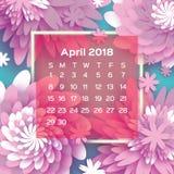 Calendário 2018 anos abril cor-de-rosa Flor de Origami estilo do corte do papel A semana parte de domingo Fundo floral da mola Imagem de Stock Royalty Free