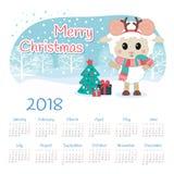 Calendário 2018 anos com carneiros ilustração stock