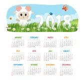 Calendário 2018 anos com carneiros ilustração do vetor