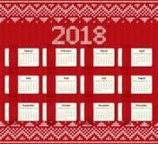 Calendário 2018 anos com meses Molde do vetor Fotos de Stock Royalty Free