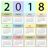 Calendário 2018 anos Começos da semana com domingo foto de stock royalty free