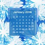 Calendário 2018 anos janeiro branco azul Flor de Origami estilo do corte do papel A semana parte de domingo Inverno floral Imagem de Stock