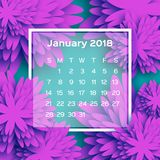 Calendário 2018 anos janeiro roxo de néon Flor de Origami estilo do corte do papel A semana parte de domingo Inverno floral Ilustração Royalty Free