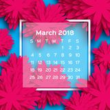 Calendário 2018 anos março azul cor-de-rosa Flor de Origami estilo do corte do papel A semana parte de domingo Fundo floral do in Ilustração Royalty Free