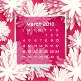 Calendário 2018 anos março branco cor-de-rosa Flor de Origami estilo do corte do papel Ilustração Royalty Free