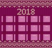 Calendário 2018 anos no projeto retro Molde do vetor Fotografia de Stock