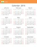Calendário 2019 anos para o país da Índia ilustração do vetor