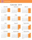 Calendário 2019 anos para o país de Grâ Bretanha ilustração do vetor