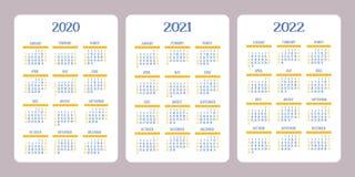 Calendário 2020, 2021, 2022 anos Projeto vertical do calendário do vetor ilustração royalty free