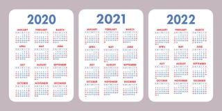 Calendário 2020, 2021, 2022 anos Projeto vertical do calendário do vetor ilustração do vetor