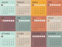 Calendário 2018 anos A semana parte de domingo ilustração stock
