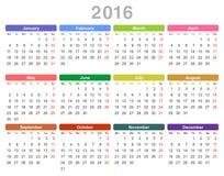 calendário anual de 2016 anos (segunda-feira primeiramente, ingleses) Foto de Stock
