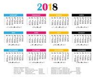 Calendário anual de 2018 cores da cópia de CMYK fotos de stock royalty free
