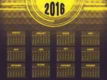 Calendário anual de 2016 pelo ano novo Foto de Stock Royalty Free