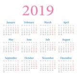 Calendário anual simples 2019 ilustração stock