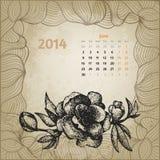 Calendário artístico do vintage com a mão da pena da tinta tirada Fotografia de Stock Royalty Free