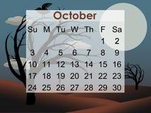 Calendário assustador de outubro 2010 da árvore Fotos de Stock