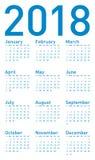 Calendário azul para 2018, no formato do vetor Fotografia de Stock Royalty Free