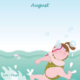 Calendário baixo de agosto para adicionar os dias Imagens de Stock