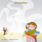 Calendário baixo de novembro para adicionar os dias Fotografia de Stock Royalty Free