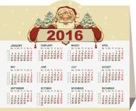 calendário 2016 Bandeira da terra arrendada de Papai Noel Imagem de Stock Royalty Free