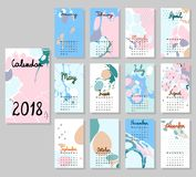 Calendário bonito 2018 Fotos de Stock