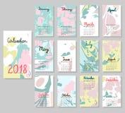 Calendário bonito 2018 Imagens de Stock Royalty Free