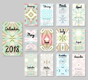 Calendário bonito 2018 ilustração stock