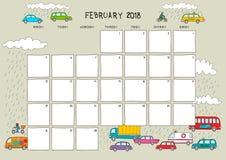 Calendário bonito e planejador para fevereiro de 2018 Wi bege do fundo ilustração do vetor