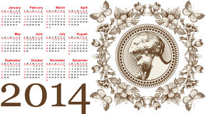 Calendário bonito para 2014. Anjo. Imagem de Stock Royalty Free