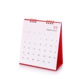 Calendário branco novo do desktop de 2017 Tiro do estúdio isolado no whit Fotografia de Stock Royalty Free