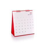 Calendário branco novo do desktop de 2017 Tiro do estúdio isolado no whit Imagem de Stock Royalty Free