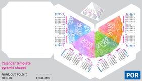 Calendário brasileiro português 2018 do molde pela pirâmide das estações dada forma ilustração stock