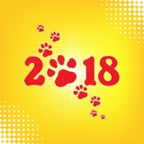 Calendário chinês pelo ano novo do cão 2018 Paw Print Ilustração do vetor Eps 10 Projeto original Fundo de intervalo mínimo retro Ilustração Stock