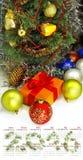 calendário Close-up 2016 das decorações do Natal da imagem Imagens de Stock Royalty Free