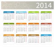 Calendário 2014 colorido Imagens de Stock